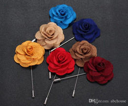 Discount men flower brooches - Hot Lapel Flower Man Woman Camellia Handmade Boutonniere Stick Brooch Pin Men's Accessories in 22 Colors 50pcs Free