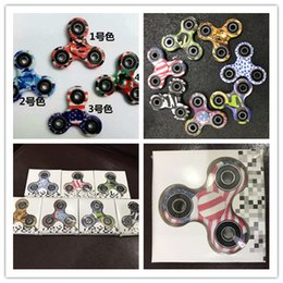 Toy Factories Canada - DHL factory price 3D Camo Triangular Fingertips Spinner Colorful Fidget Hand Spinner EDC Toy Gift Relieve Stress With Retail Box
