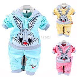 Sets Velvet NZ - Wholesale- New 2017 Spring Baby Clothing Sets Velvet Rabbit Cartoon Hoodie+ Pants Twinset Long Sleeve Velour Infant Baby Clothing Vestidos