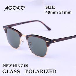 Rectangle fRame glasses online shopping - AOOKO New Hinges Glass Polarized Sunglasses Top Quality Master Men Sun Glasses Women Semi Rimless Retro UV Protection Sunglass mm mm