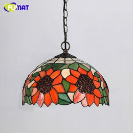 Stained glass pendant lights online stained glass chandeliers fumat tiffany stained glass pendant lamp creative sunflower lampshade lamp for dining room living room led glass art pendant lamps aloadofball Gallery