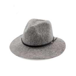 cacc00588c7 100% Wool Jazz Hats Caps for Women Autumn Winter Ladies Fedora Hats with Belt  Female Wide Brim Top Hats 6 Colors GH-217