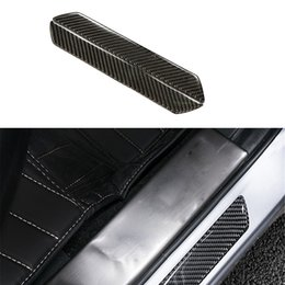 car door sill plates 2019 - Wholesale- 2pcs lot Carbon Fiber Car Outside Door Sill Plate Guard Frame Left & Right Trim Car Styling Stickers Accessor