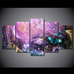 $enCountryForm.capitalKeyWord Canada - 5 Pcs Set Framed HD Printed Psychedelic Light Butterfly Canvas Art Painting Poster Picture For Home Decorative Wall Pictures