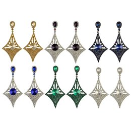 Wholesale 6Colors Generous Big Long Drop Earrings Crystal Diamond Design Dangle Zircon Stud Earrings
