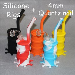 wholesale concentrate pipes NZ - Smoking pipe Silicone Water Rigs for Smoking Dry Herb Unbreakable Silicone Water Bong Smoking Oil Concentrate Pipe + 100% Real Quartz Banger