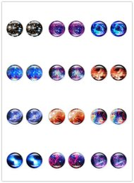 galaxy stud UK - 20Pair Galaxy Starry sky Earrings Fashion Glass Cabochon Vintage Jewelry Stud Silver Earrings for Women Summer Style