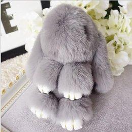 Venta al por mayor de 18 cm Pom Pom Mini Car Rex Play Dead Rabbit llavero 20 colores Piel Mochila Coche Conejo Muñeca Colgante Moda Juguetes Monedero Bolso Bolso colgante