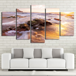 wave art canvas sets Canada - 5 Pcs Set Framed Printed Sunset Seascape Wave Painting Poster Home Wall Decor Canvas Picture Art HD Print Painting Artworks