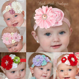 Flowers baby girl photos online shopping - Newborn Infant Headbands Big Flower Photo Props Baby Girls Satin Rhinestone Hair Bands Children Hair Accessories Party hairs bows KHA328
