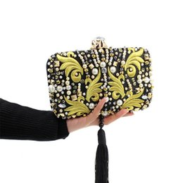 bridal clutches UK - Wholesale-Luxurious Pearl Beads Diamonds Gold Embroidery Clutch Black Tassels Crystal Evening Bag Bridal Wedding Handbag With Chain JXY636