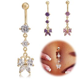 crystal buttons shiny NZ - Hot Shiny Gold Plated Crystal Medical Stainless Steel Butterfly Dangle Belly Ring Body Piercing Ring Button for Girls Women BR-131
