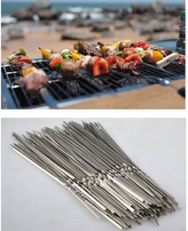 Picnic Barbecue Grill Canada - 35CM Food Camping Picnic vegetable Needle BBQ Barbecue Stainless Steel Grilling Party Kabob Kebab Flat lamb Skewers forks
