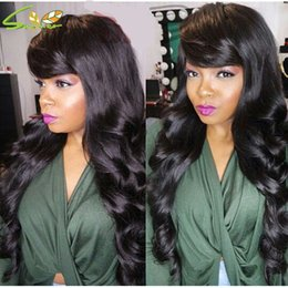 virgin hair unprocessed lace wig bangs 2019 - Unprocessed Virgin Peruvian Loose Wave Glueless Full Lace Wigs Human Hair Lace Front Wig Human Hair Wigs with Side Bangs