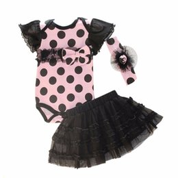 Polka Dots Jupe Tenue Pas Cher-Grossiste 3pcs Baby Girl Polka Dot Headband + Romper + TUTU jupe Bowknot Outfit S03