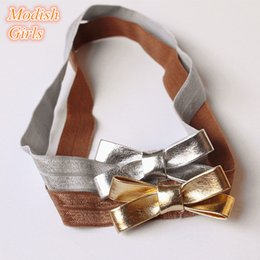 $enCountryForm.capitalKeyWord Australia - 20pc lot PU Leather Hairbands Cute Gold Bowknot Headbands Silver Baby Kids Artificial Leather Bows Hair For Children Princess