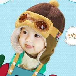 Barato Piloto Do Bebé Bone-Venda por atacado 4 cores Lovely Autumn Winter Toddlers Warm Cap Hat Beanie Cool Baby Boy Girl Kids Infant Winter Pilot Cap Crianças Kids Hat