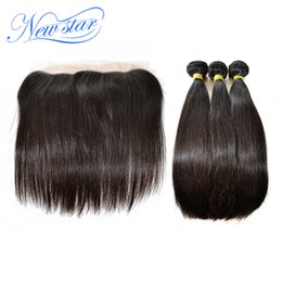 Discount virgin hair extensions brand 2017 virgin hair wholesale new star brand brazilian virgin hair straight human hair extensions ear to ear 134 1 lace frontal closure with 3bundles on sale pmusecretfo Image collections
