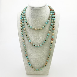 wholesale jasper necklaces Canada - ST0340 Fashion Women Yoga Necklace 60 inches Knotted Aqua Terra Jasper Necklace New Design Boho Women Necklace