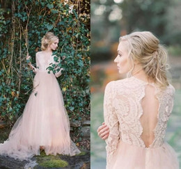 Blush Pink Lace Bohemian Wedding Dresses 2017 Sheer Long Sleeves Deep V Neck Sexy Open Back Tulle Bridal Gowns Cheap Beach