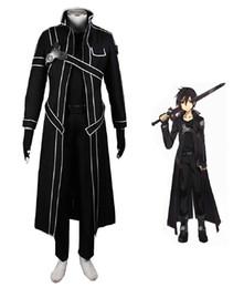 Malidaike Anime Sword Art en ligne Kazuto Kirigaya Kirito Anime Combat Costume Cosplay Costume