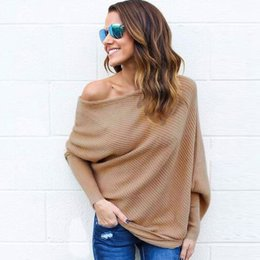 $enCountryForm.capitalKeyWord NZ - 2018 New Knit Blouse Women Long Batwing Sleeve Slash Neck Pullover Knitwear Fashion Sexy Ladies Oversized Casual Top Shirt DYG0904