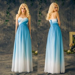 Wholesale gradient blue chiffon dress for sale - Group buy Cheap Country Bridesmaid Dresses Long Blue Gradient Color Chiffon Ruffle Pleats Lace up Sweetheart Plus Size Maid Of Honor Dresses EV137