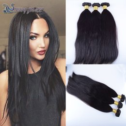 Brazillian Weave Hair NZ - Brazilian Hair Weave Bundles 3pcs Unprocessed Brazillian Peruvian Indian Malaysian Cambodian Straight Human Hair Extensions Natural Black