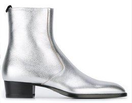 $enCountryForm.capitalKeyWord NZ - 2017 Fall Silver Classic Boots Patent leather Western Style Wyatt SLP Harness Ankle Boots for men Big Size 45