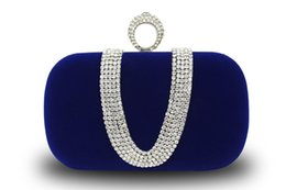 I più venduti Moda Donna Diamond U Shape Diamond Anello Velvet Evening Bag Luxury Finger Borsa frizione Borsa da sposa con catena