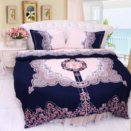 Silver Gray Bedding Sets Canada - Round bed bedding set cotton circle bed clothes GREAT DYNASTY Indigo home Duvetcover printed roundbed mattress chinesestyle wedding bedskirt