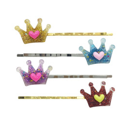 $enCountryForm.capitalKeyWord Canada - Shinny Glitter Acrylic Laser cutting crown shaped hairpin multicolor girls hair pin 4 pieces per set