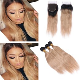 honey blonde ombre virgin hair NZ - Indian Virgin Hair 1B 27 Honey Blonde Ombre Weaves With Lace Closure Two Tone 1B Blonde Ombre Straight Hair Bundles With Top Closure
