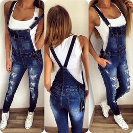 $enCountryForm.capitalKeyWord NZ - Wholesale- New Suspender Trousers For Ladies Jeans Softener Slim Woman Jumpsuits Fashion Denim Overalls Woman Trousers Vestidos De Gala
