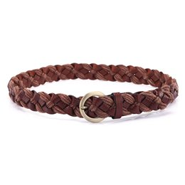 China Wholesale- New Women's wax cord knitted belt fashion genuine leather all-match Women decoration crushed cowhide strap casual pants belt cheap cowhide wholesale belts suppliers
