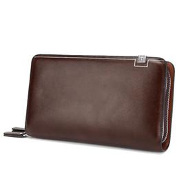 China Luxury Wallets Double Zipper Bifold Leather Male Purse Business Men Long Wallet Designer Brand Mens Clutch Handy Bag carteira Masculina H020 suppliers