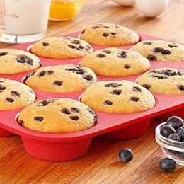 Cupcake Muffins Cake Australia - New Cake Tools Fondant Kitchen Bakeware Silicone Metal Non-Stick 12 Cups Cupcake Baking Tray Mousse Cake Mold Muffin Pan
