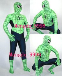 Barato Spandex De Traje Preto Spiderman-New Fancy Spiderman Costumes Black / Green Lycra Spandex Spiderman Hero Catsuit Costumes Outfit Unisex Spider Suit Halloween Cosplay Suit M124