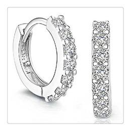 Orecchini del diamante del cerchio del cerchio dei Rhinestones dell'argento sterlina dei monili di modo 925 per le donne il bello regalo degli orecchini 1Pair libera il trasporto in Offerta