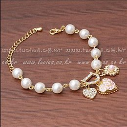 women pearl bracelet crystal love heart flower bracelet rhinestone charm bracelets crystal bangle jewelry for wedding party prom evening