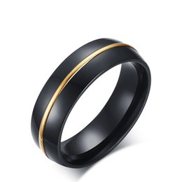$enCountryForm.capitalKeyWord UK - New Design Mens Fashion Jewelry IP Black and Gold Plated Mens Rings 6mm Wide High Polished Titanium Stainless Steel Rings For Men