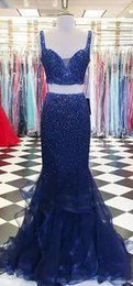Robe De Soirée Pas Cher-2017 Dark Navy Beaded Vintage Robes Evening Wear Deux Piece Mermaid Prom Dress Sexy Back Spaghetti Ruffles Fashion Evening Gowns Plus Szie