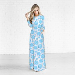 2b35fdba5c70 Beautiful long maxi dresses online shopping - 2017 New Arrival D Blue  Snowflake Printed Christmas Beautiful