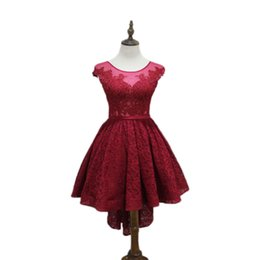 $enCountryForm.capitalKeyWord UK - Scoop Neck Lace High Low Cocktail Dress Burgundy 2017 New Party Dress Short Front Long Back