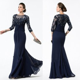 Marins Foncés Pas Cher-Dark Navy Mermaid Mère de la mariée Robes 3/4 Sleeve Lace Appliqued Beads Robe d'invité de mariage Cheap Plus Size Mothers Groom Gown