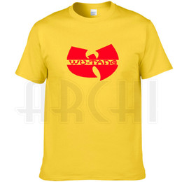 Yellow Striped T Shirt NZ - Wu tang clan T shirt Hip hop band printing short sleeve Yellow Rap Wutang tees Music cool clothing Unisex cotton Tshirt