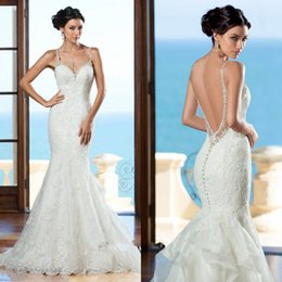 Barato Vestido De Noiva Personalizado-Gorgeous Backless Mermaid Wedding Dresses 2017 Spaghetti Appliques Lace Beaded Backless Ruffles Organza Bridal Gowns Customized 2018