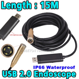 Chinese  Wholesale-Hot Sale 15m 14mm Lens 4 LED USB Waterproof Borescope Endoscope Inspection Snake Sewer Tube Mini Endoscope Borescope Camera manufacturers