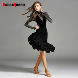 Sexy Latin Dancewear Baratos-2017 Nueva Etapa Lady Women Latin Dance Dress 2 Unids (Top + Skirt) Velvet Dancewear Club Latin Dance Wear Sexy Plus Size Club Vestido