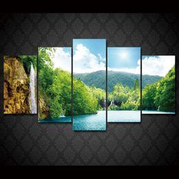 $enCountryForm.capitalKeyWord Canada - 5 Pcs Set Framed HD Printed waterfall sea lake deep Painting Canvas Print room decor print poster picture canvas Free shipping ny-1851